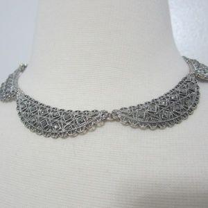 "Vtg Trifari Crown Silver Lacy Collar Necklace 14"""